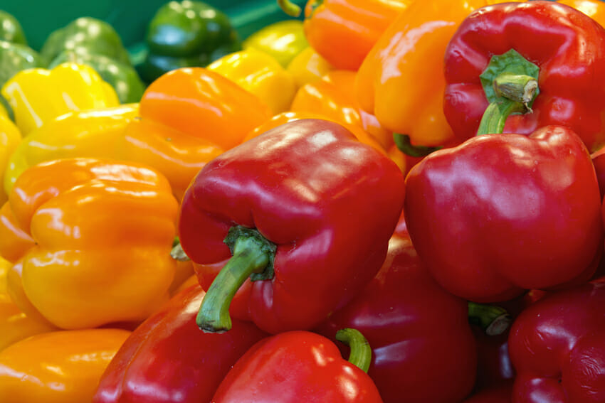 red yellow and green bell peppers against cold