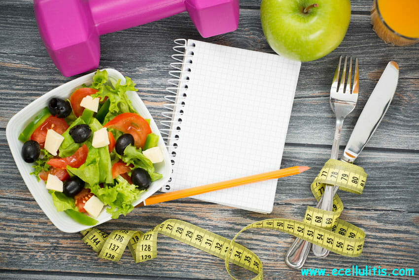 Workout and fitness dieting copy space diary
